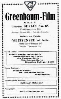 Reichs-Kino address book, Berlin, 1919, p. 480