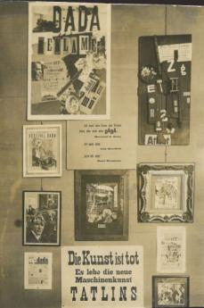 'First International Dada Fair': Room 1 with works by Raoul Hausmann, 1920. Photo: Akademie der Künste, Berlin, JHA 618/34.1.12.