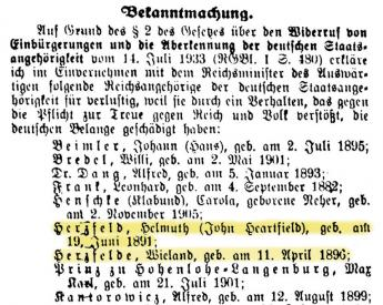 List of expatriated individuals from the Reichsanzeiger and Preußischer Staatsanzeiger, Nr. 258, 11 March 1934.