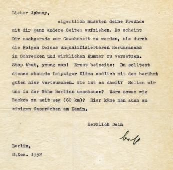 Letter from Bertolt Brecht to John Heartfield, Berlin, 8th December 1952. Photo: Akademie der Künste, Berlin, JHA 26.
